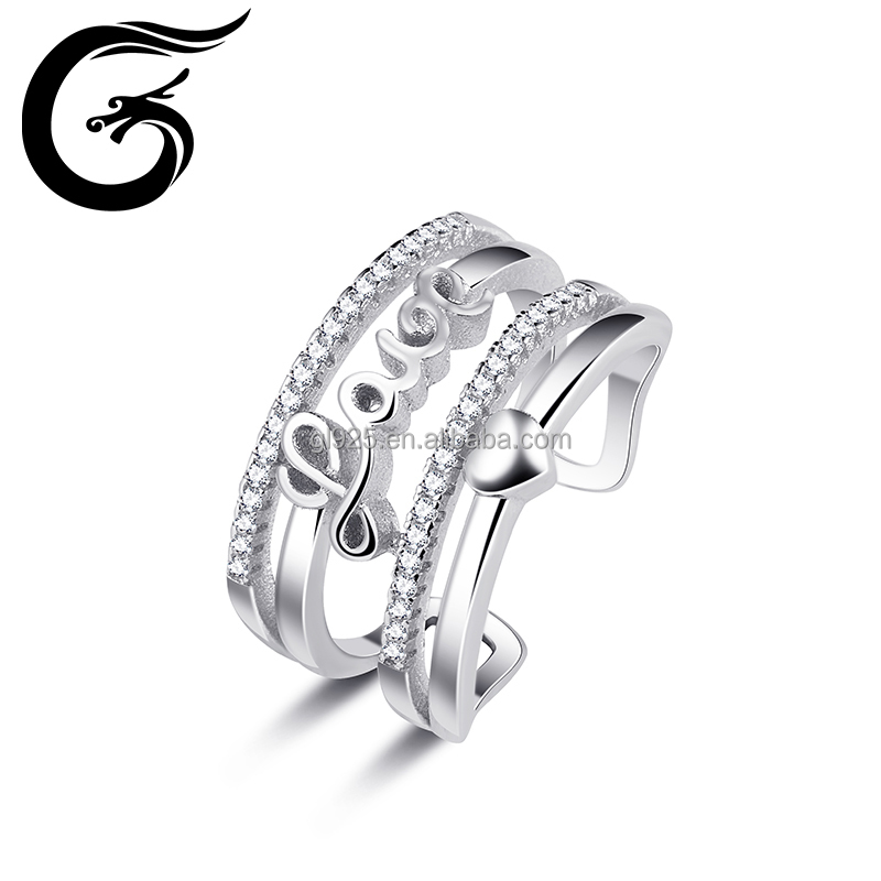 Letter Love design woman 925 sterling silver ring jewelry