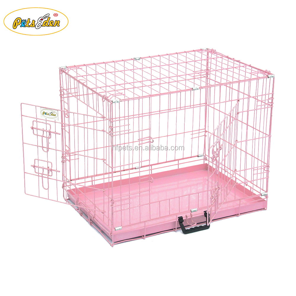 Wholesale Cheap Iron Fence Dog Kennel Folding Dog Cage Crate Color Pink