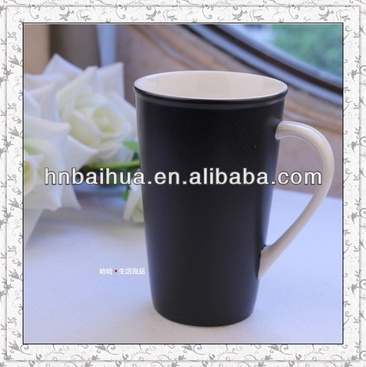 ceramic balack glazed coffee mug with reactive colors