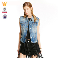 2017 new design fashion girl wear custom jean vest