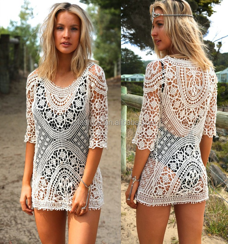 Beautiful Beach Clothes For Women Vintage Lace Crochet Minidress