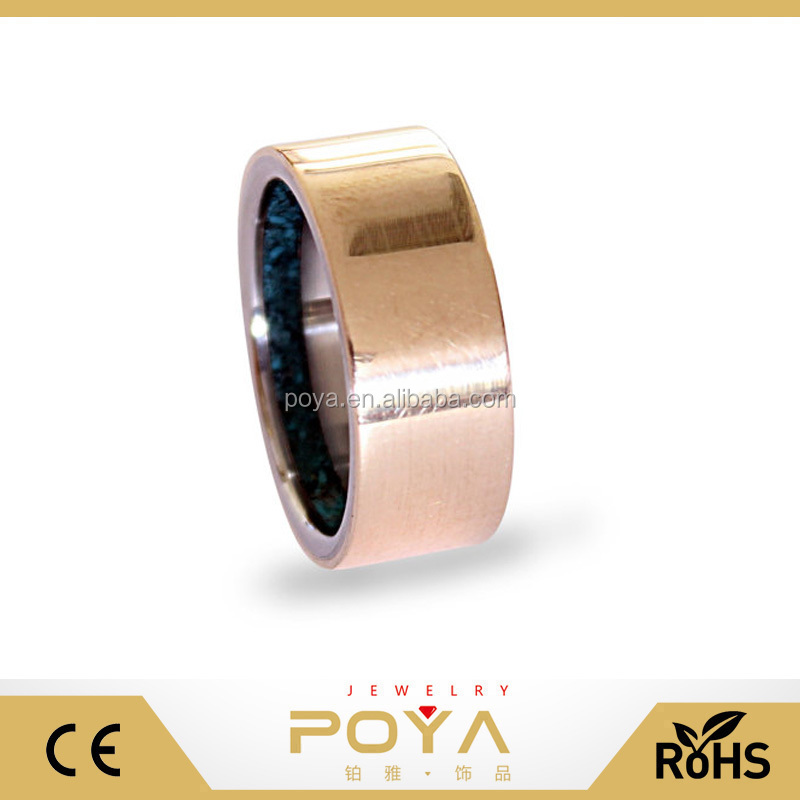 POYA Jewelry 8mm Western Style Make Your Logo Tungsten Mens Ring With Bronze Inlay With Turquoise Inside New Arrive