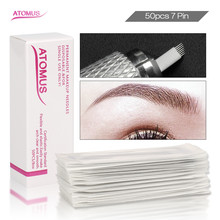 50 pcs 7 Pins Microblading Nadeln Tattoo Nadeln Permanent Make-Up Nadeln Micro Inlineskating Augenbraue Stickerei Lamina