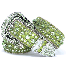 Cowgirl western 3 row peridot lime green rhinestone leather belt crystal studded leather belt