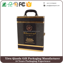 portable leather red wine box for 2 bottles wine whosale