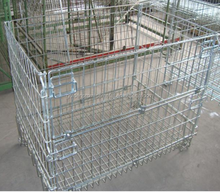 Galvanized Wire Mesh Storage Cages Folding and Stackable Storage Cage Galvanized Wire Mesh Container