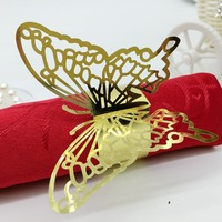 Gold butterfly shape Laser Lace Paper Napkin Rings Holders for Christmas wedding favor party goblet decoration