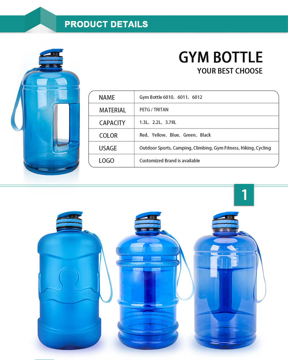 Mlife with custom logo new products 2.2l petg water gym bottles
