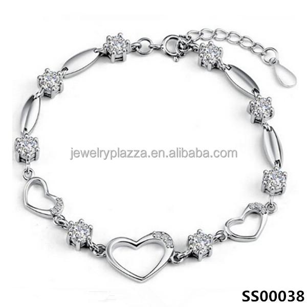 latest design sterling silver bracelet women cz crystal