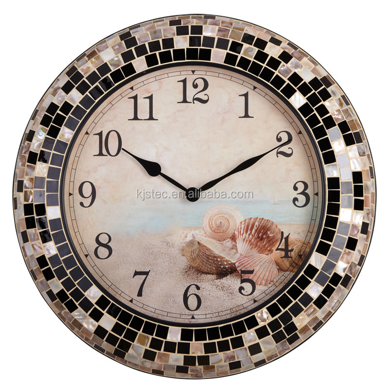 design watch vintage Handmade shell mosaic wall clock