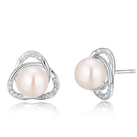 SJ New Arrivals SJH24 Piercing White Cubic Zirconia 925 Sterling Silver Platinum Plated Natural Pearl Stud Earring for Banquet