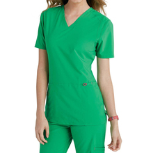 OEM Green Polyester Cotton V-neck Scrub Suit Design Medical