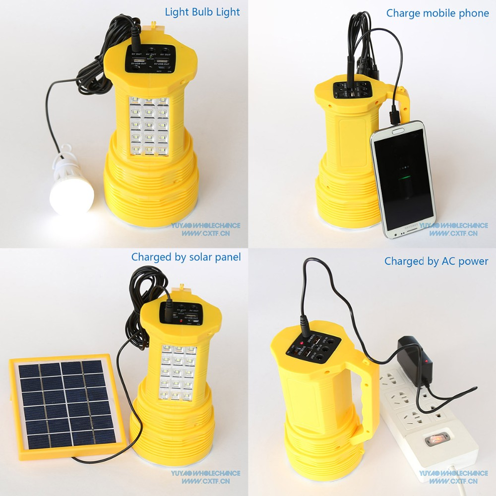 LED Search Light Mini Home Solar Power System with Mobile Charger