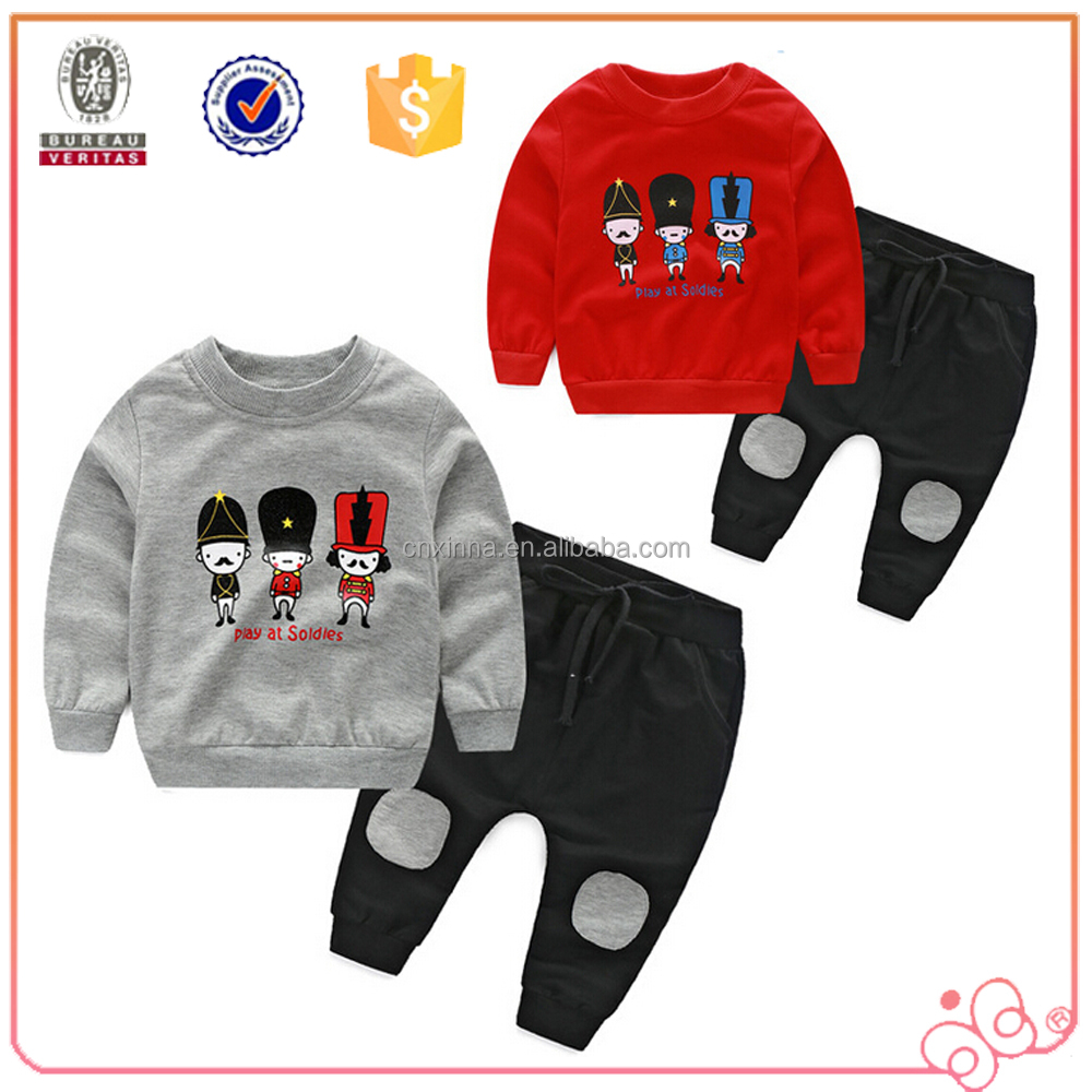 High quality wholesale printing child hoodies pattern custom childrens clothing sets