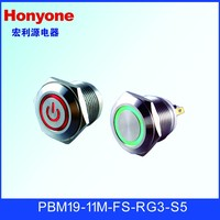 PBM19-11M-FS-RG3-S5 19mm metal mini waterproof momentary push button switch with 12VDC illuminated blue led light