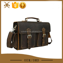 Mens Retro Brown Cowihde Leather Messenger Shoulder Bag TOte Briefcases
