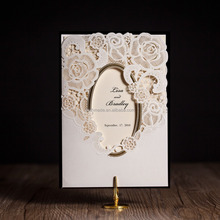 Cream white invitation card wedding & birthday greeting paper <strong>crafts</strong> cw5185
