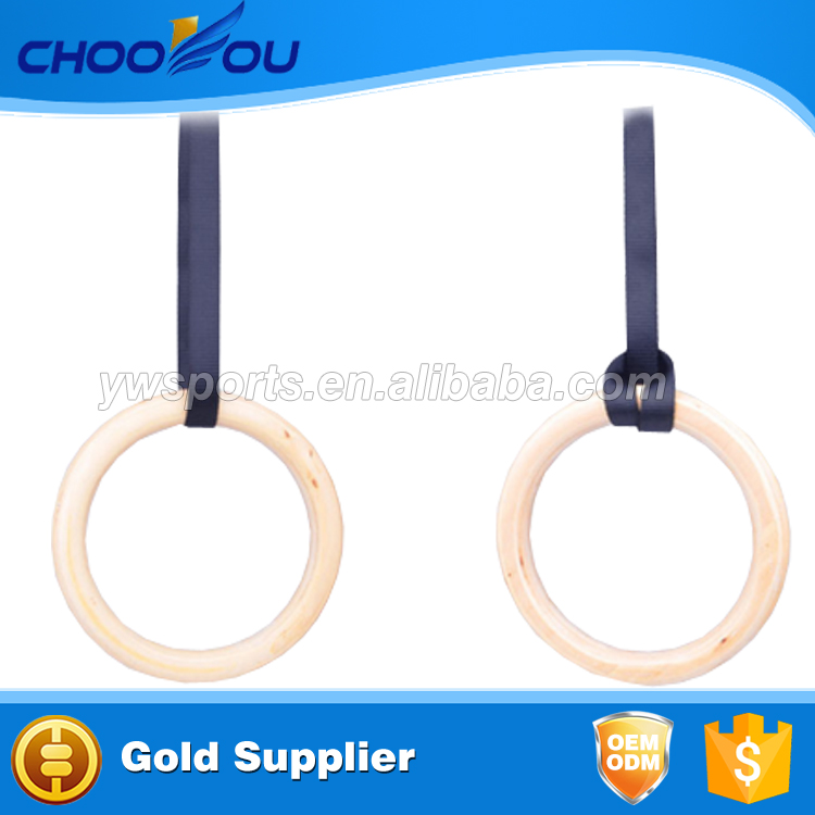 2017 Popular Crossfit Nylon Strap Wooden /ABS Gymnastic Rings