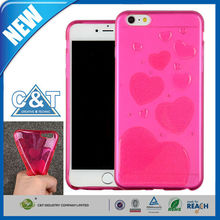 C&T Clear Heart Pattern Crystal Gel TPU Rubber Flexible Slim Soft Case for iPhone 6 Plus 5.5""