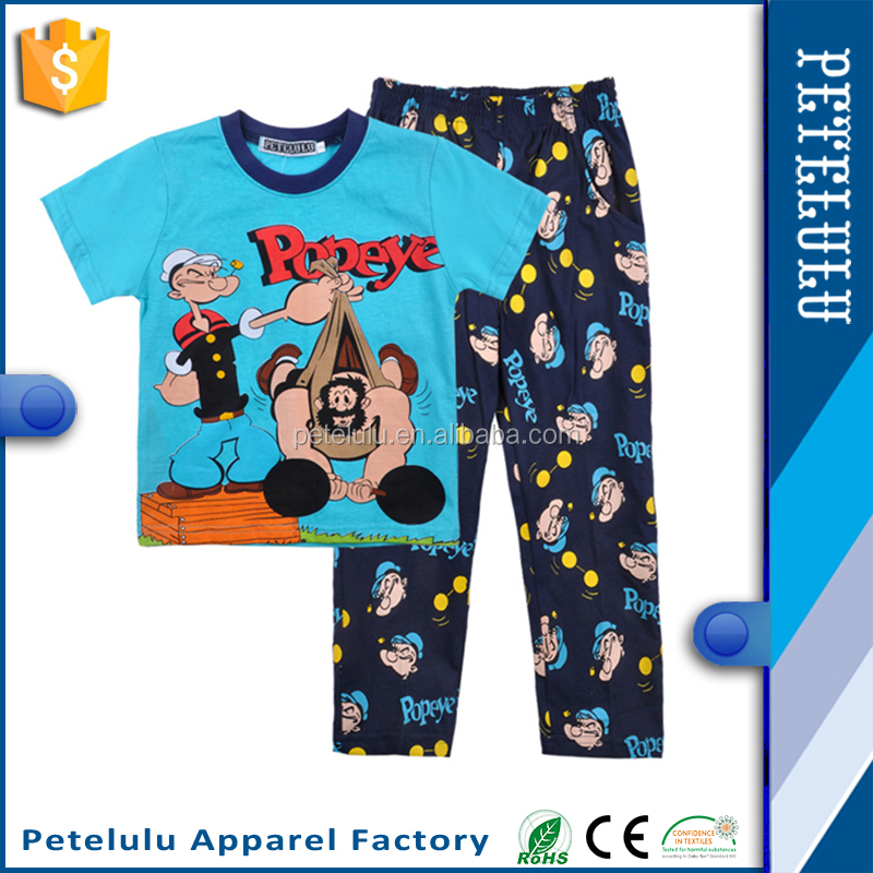 Petelulu wholesale short sleeve nightwear fabric for pajamas for boy from China supplier