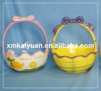 Easter ceramic basket(113-052-2)