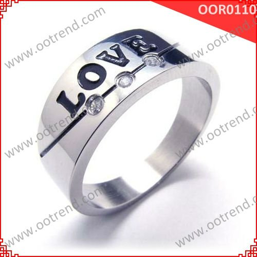 """Love"" Wedding Band Stainless steel couples promise rings"