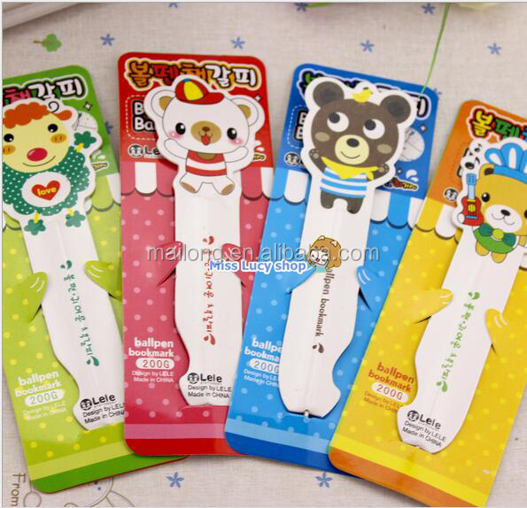 Fun animal environmental amphibious magnetic bookmark portable ball pen lack ink 0.8 mm PN3077