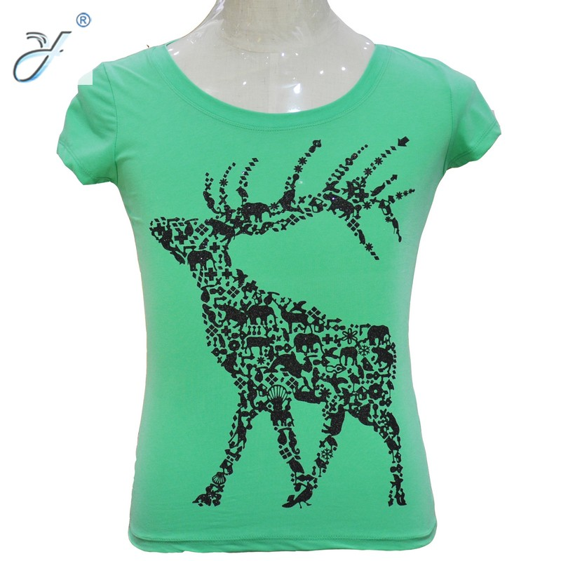100% Cotton Green Woman T Shirt Deer Printing T Shirt