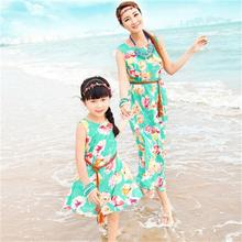 2017 new Fashion long printing parent-child clothes parentage dresses one-piece dress for mother and daughter