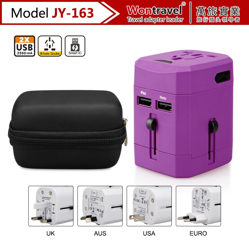 JY-163 Wontravel Multipurpose Universal Travel Adapter, Eletrical Socket Plug with USB Charger