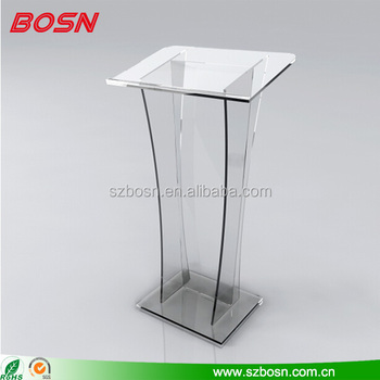 Modern design clear acrylic lectern lucite Perspex pulpit podium for church