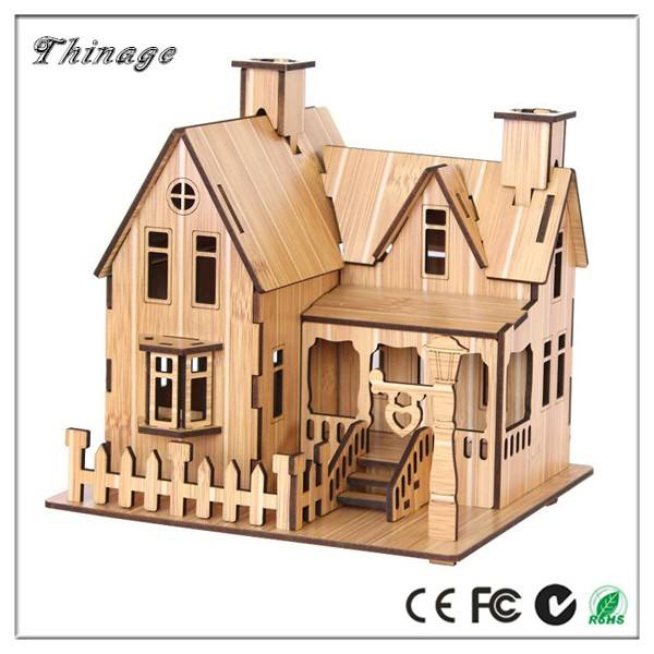 MDF/Plywood Bamboo Like 3D Mini Wood House Puzzle