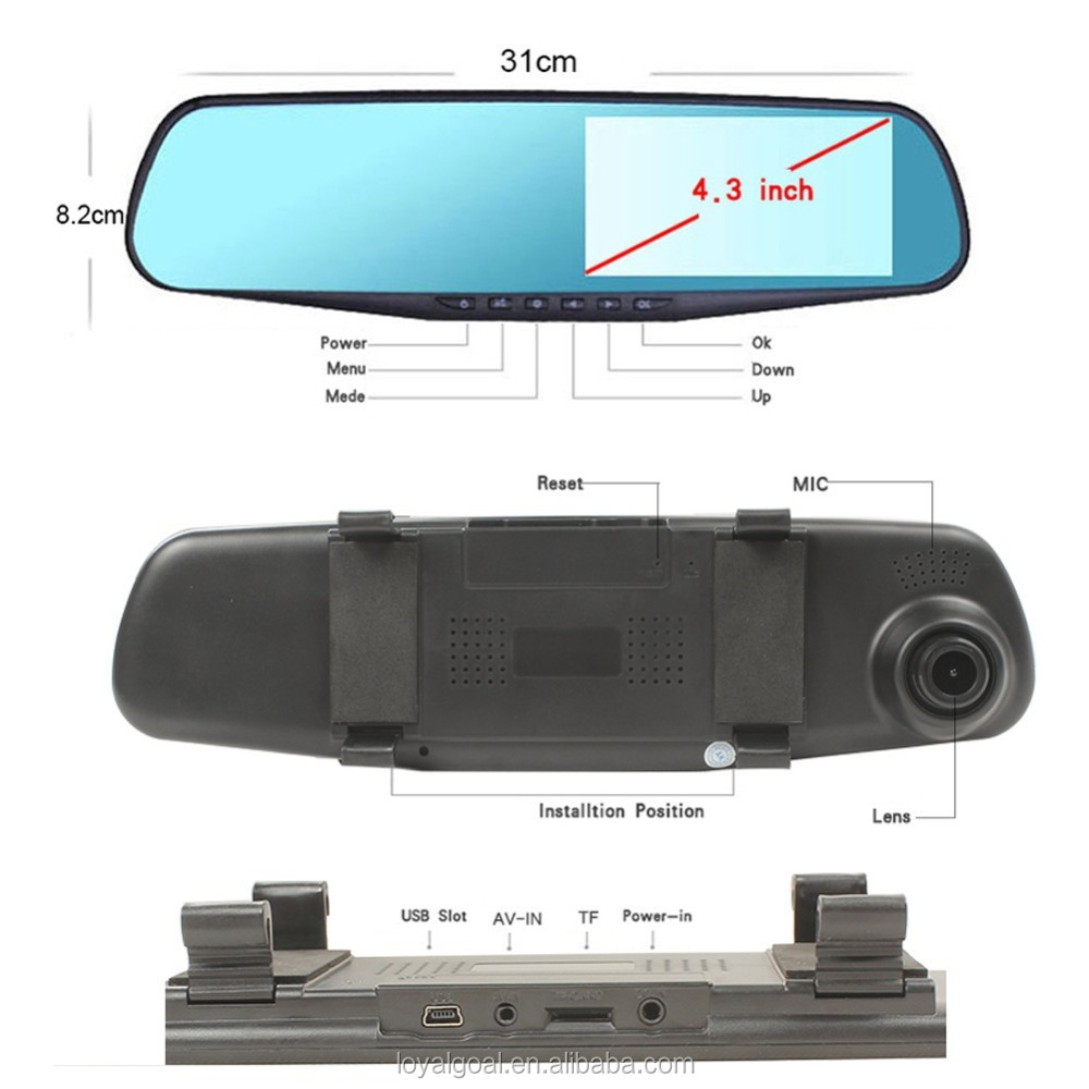 "Factory Price M301 Car Dash Cam, 4.3"" LCD FHD 1080p Dual Lens Car Camera Front and Rear DVR Video Recorder"