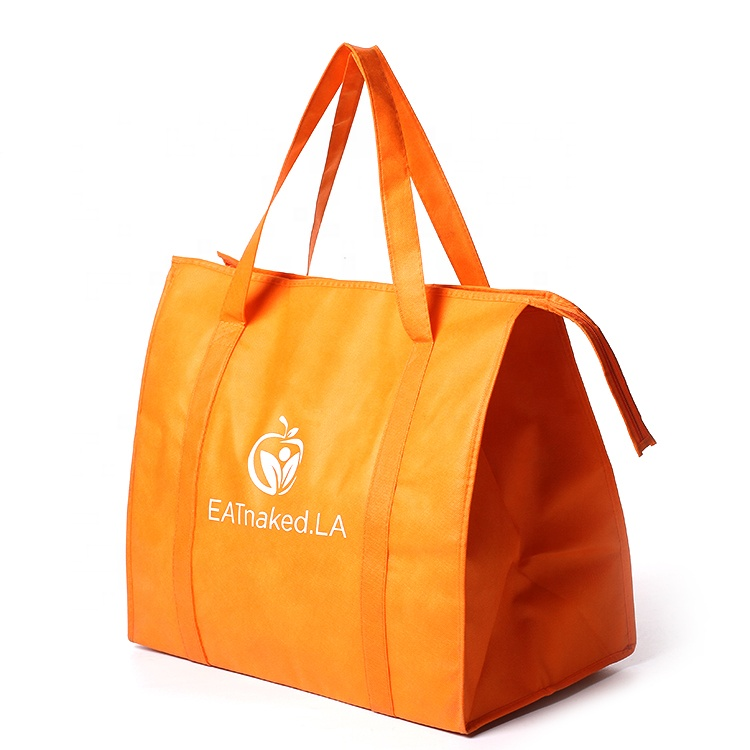 wholesale promotional custom printed disposable non woven tote lunch thermal insulated food deliver cooler bag