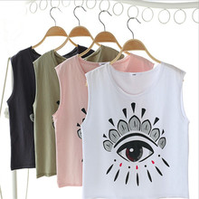 Hot New 2017 Europ Summer Causal Crop Tops /Printing Sleeveless Top For Women Wholesale In Bulk
