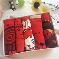 A011 new arrival young women panties 5 pcs one boxers cotton cartoon hot girls sexy red underwear