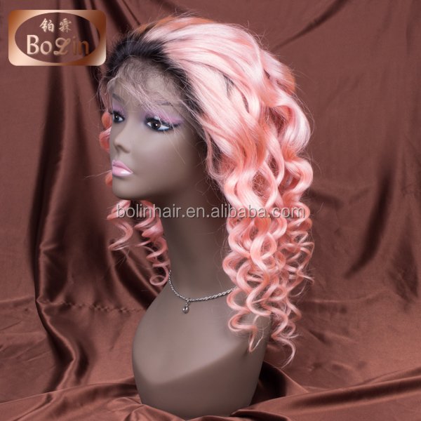 factory cheap Human hair full lace wig with baby hair, full lace human hair wig brazilian human hair wig, ombre 1#/pink color