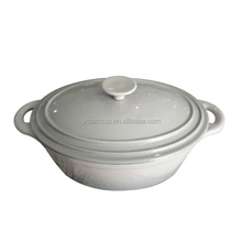 Oval large Gray Enamel Coating Cast Iron parini cookware