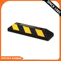 Factory In China Black & Yellow Reflective Rubber Car Parking Wheel Stops
