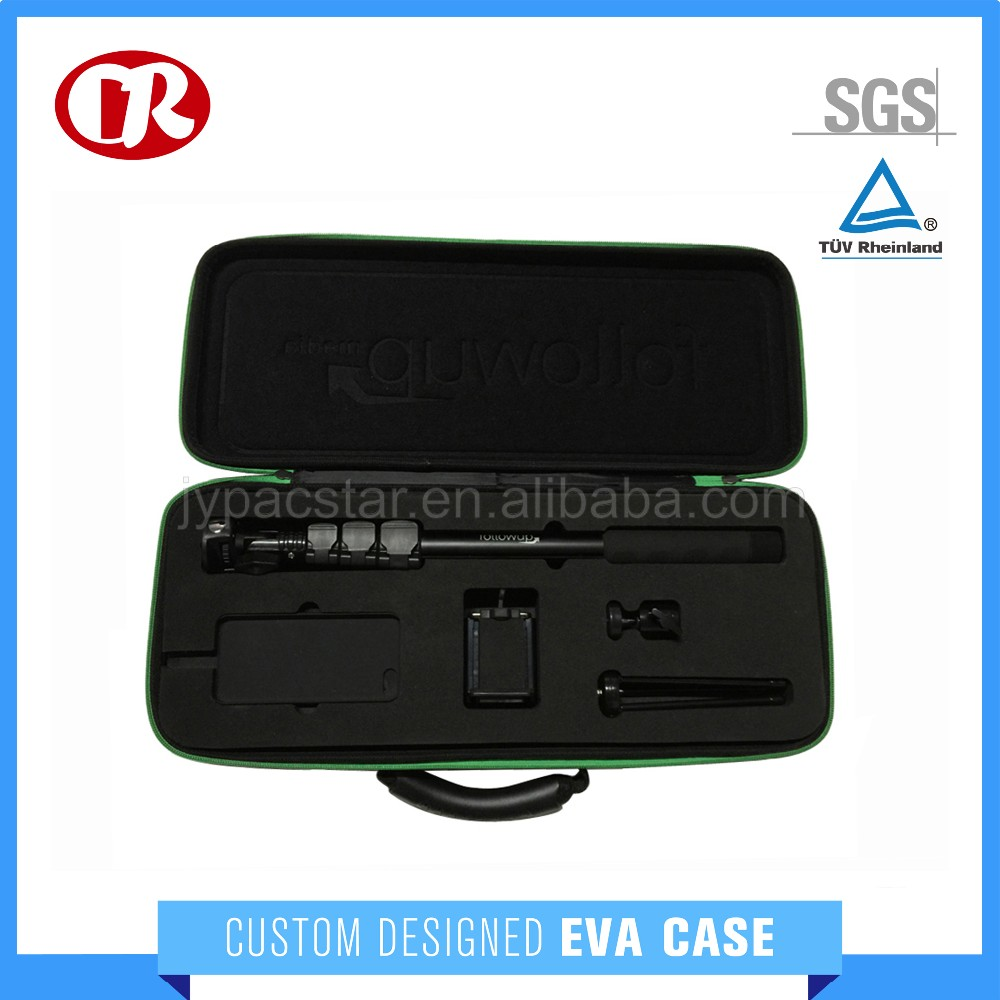Custom available size selfie stick zipper hard foam insert eva tool case