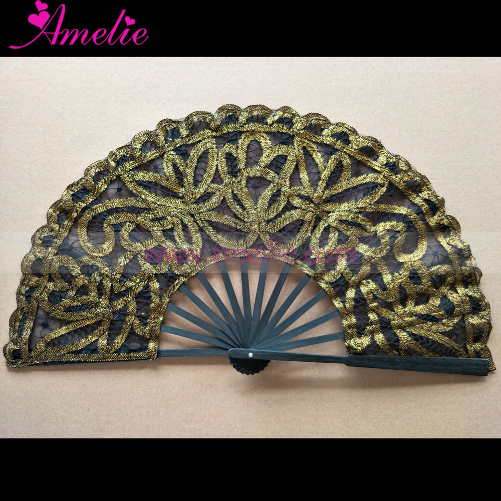 Lolita Style Black with Metallic Gold Lace Battenburg Lace Fan Wedding Accessories Party Favors Gifts