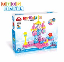 high quality novelty gear building blocks castle toys game for kids with 44 PCS