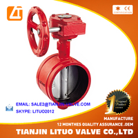 worm gear drive grooved end butterfly valve