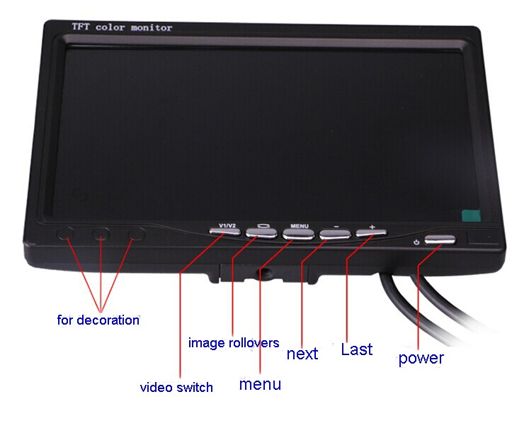 Small TFT LED Computer Monitor 7 inch 2 input car monitor