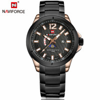 2016 New NAVIFORCE Brand Moon Phase Watches Full Steel Watches Men's Quartz Waterproof Watch Man Army Military Wristwatch