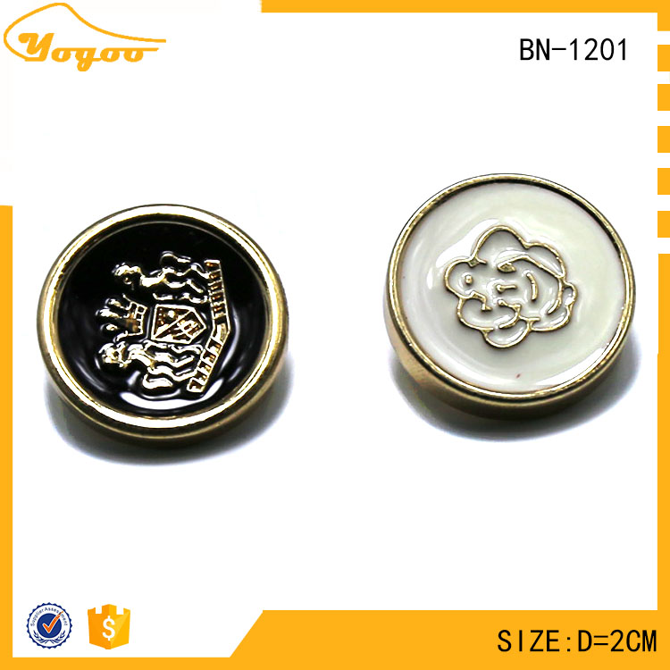 Custom Die Casting Round Enameled Gold Sewing Metal Shank Flower Button