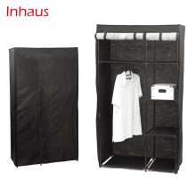 Portable Metal Frame Non-woven Closet Clothes Storage Organizer Wardrobe With Cover And Shelves