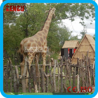 Animal theme park lifesize fiberglass giraffe model