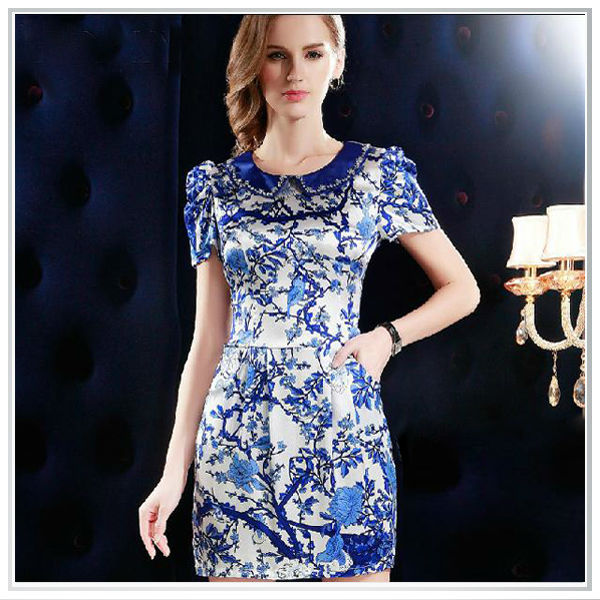 2015 Customized Top Quality Digital Printing 100% Silk Satin Fashion Casual Dresses New Design