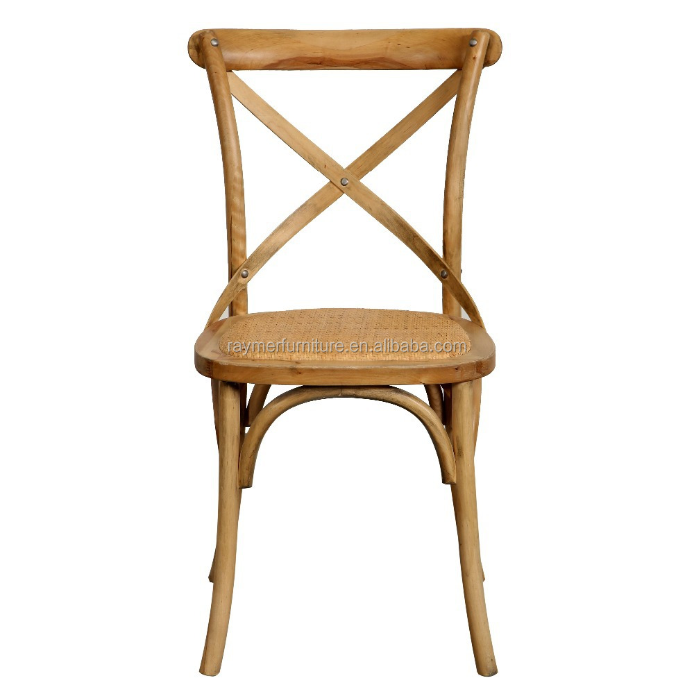 Hot Sale Bistro Solid Wood Rattan Seat X Cross Back Dining